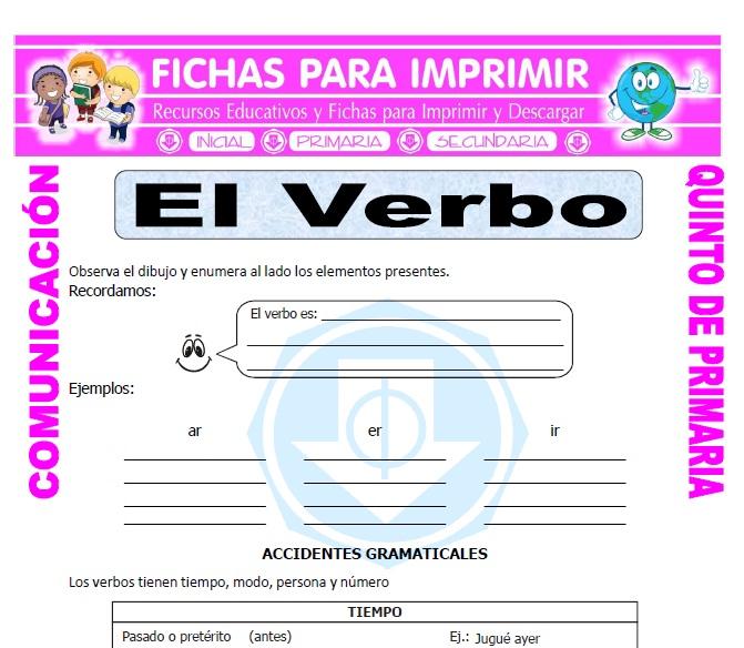 Ficha de Accidentes Gramaticales para Quinto de Primaria