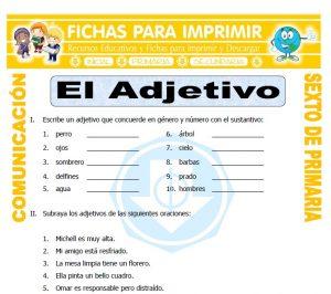 Ficha de Adjetivos Ejemplos para Sexto de Primaria