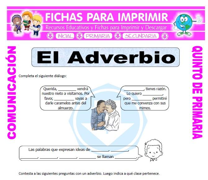 Ficha de Adverbios para Quinto de Primaria