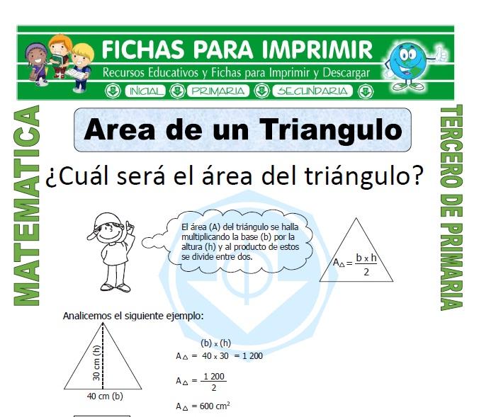 ficha de Area de un Triangulo para Tercero de Primaria