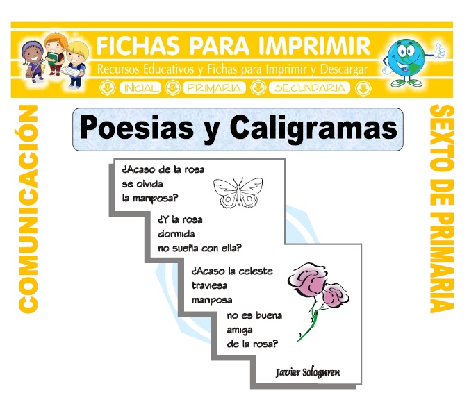 Ficha de Caligrama para Sexto de Primaria