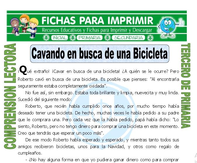 ficha de Cavando en Busca de una Bicicleta para Tercero de Primaria