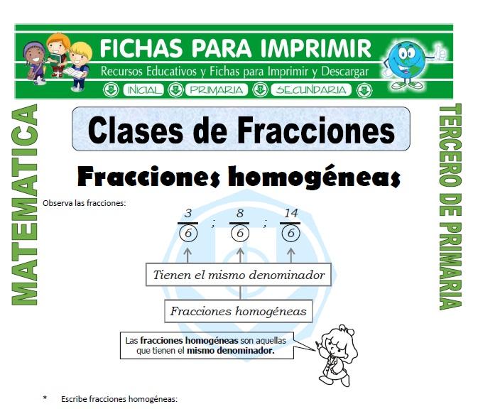 ficha de Clases de Fracciones para Tercero de Primaria