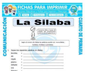 Clasificacion de las Silabas para Cuarto de Primaria