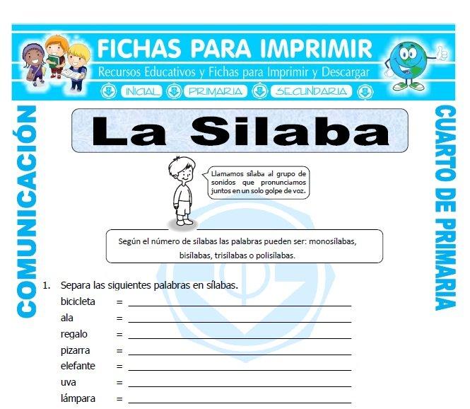 ficha de Clasificacion de las Silabas para Cuarto de Primaria