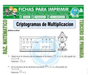 Ficha de Criptogramas de Multiplicacion para Tercero de Primaria