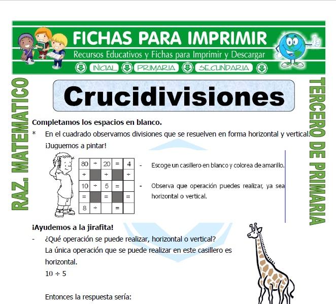 Ficha de Crucidivisiones para Tercero de Primaria