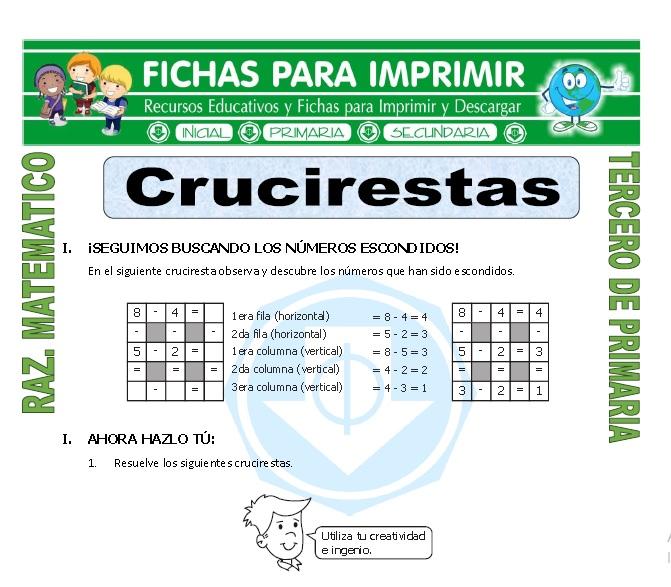 Ficha de Crucirestas para Tercero de Primaria