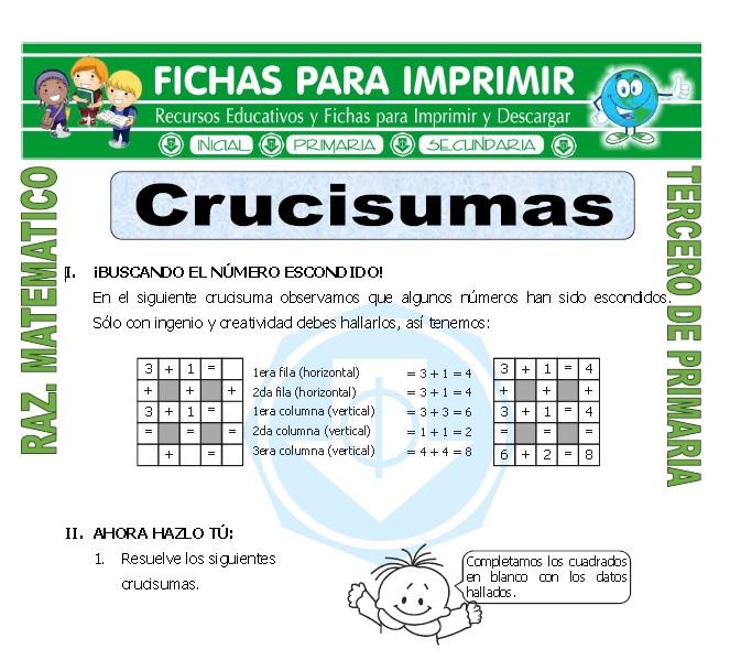 Ficha de Crucisumas para Tercero de Primaria