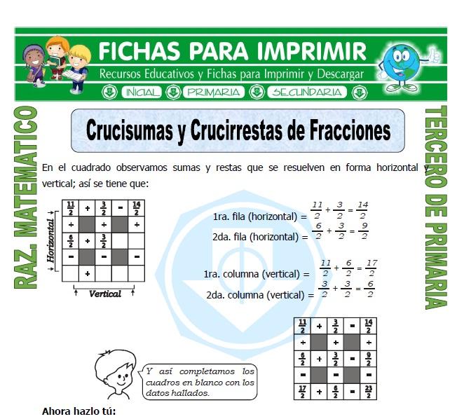 Ficha de Crucisumas y Crucirrestas de Fracciones para Tercero de Primaria