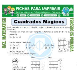 Ficha de Cuadros Magicos para Tercero de Primaria