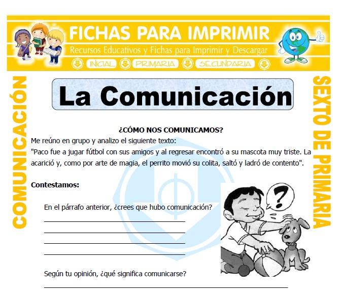 Ficha de Definicion de Comunicacion para Sexto de Primaria
