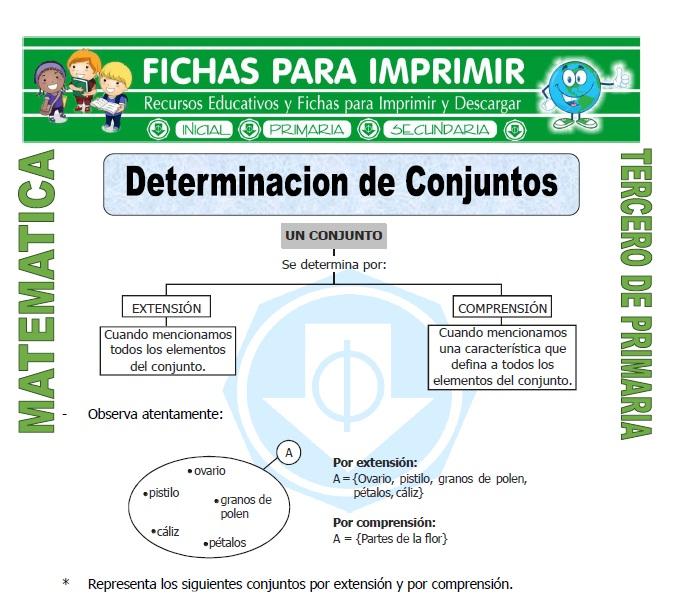ficha de Determinacion de Conjuntos para Tercero de Primaria