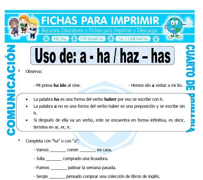 Diferencia entre Has y Haz para Cuarto de Primaria - Fichas para ...