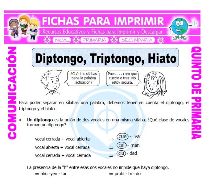 Ficha de Diptongo e Hiato para Quinto de Primaria