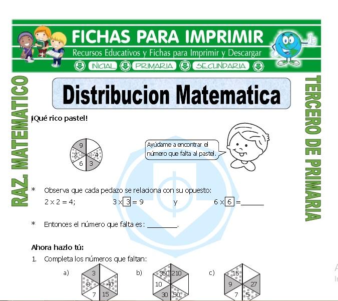 Ficha de Distribucion Matematica para Tercero de Primaria