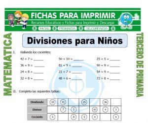 ficha de Divisiones para Niños para Tercero de Primaria