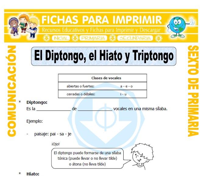 Ficha de Ejemplos de Diptongo para Sexto de Primaria