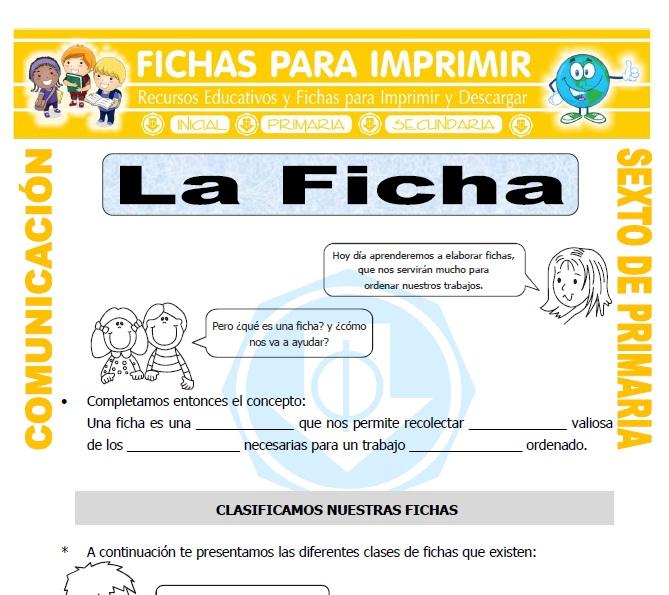 Ficha de Ficha para Sexto de Primaria