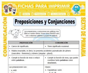 Ejemplos de Preposiciones para Sexto de Primaria