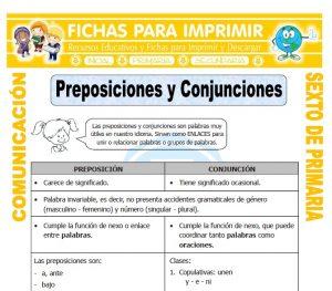 Ficha de Ejemplos de Preposiciones para Sexto de Primaria