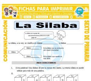 Ficha de Ejemplos de Silabas para Sexto de Primaria