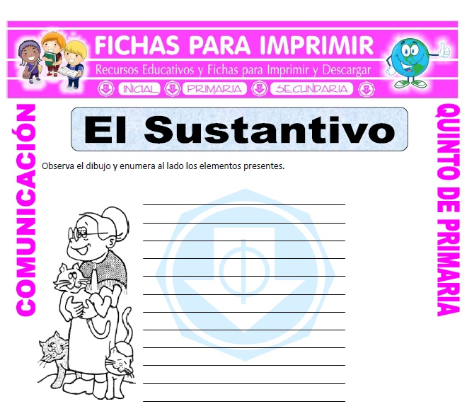 Ficha de Ejemplos de Sustantivos para Quinto de Primaria