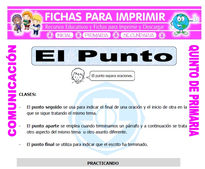Ficha de Ejemplos del Uso del Punto para Quinto de Primaria