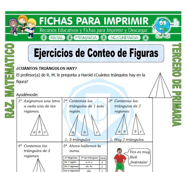 Ficha de Ejercicios de Conteo de Figuras para Tercero de Primaria