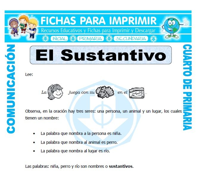 Ejercicios de sustantivos para cuarto de primaria fichas for Cuarto primaria