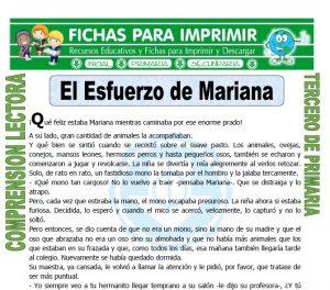 ficha de El Esfuerzo de Mariana para Tercero de Primaria