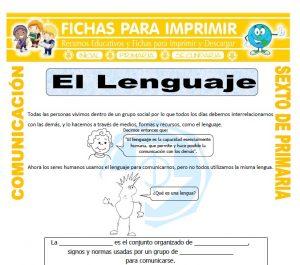 Ficha de El Lenguaje para Sexto de Primaria