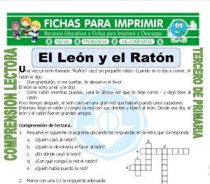 ficha de El Leon y el Raton para Tercero de Primaria