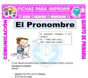 Ficha de El Pronombre para Quinto de Primaria