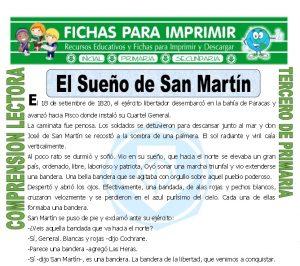 ficha de El Sueño de San Martin para Tercero de Primaria
