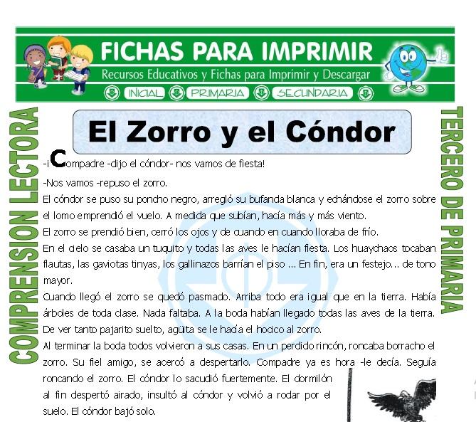 ficha de El Zorro y el Condor para Tercero de Primaria