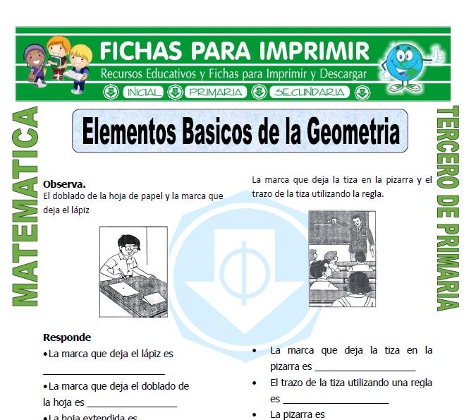 ficha de Elementos Basicos de la Geometria para Tercero de Primaria