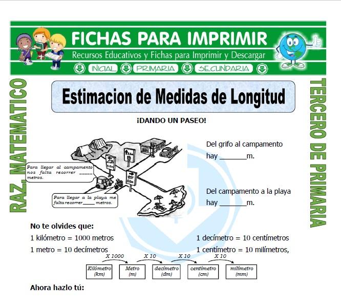 Ficha de Estimacion de Medidas de Longitud para Tercero de Primaria