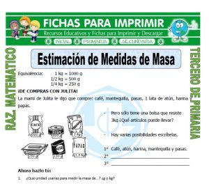 Ficha de Estimación de Medidas de Masa para Tercero de Primaria