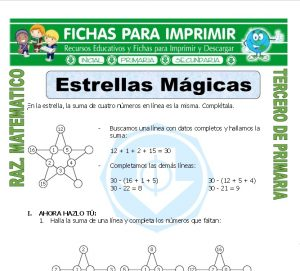 Ficha de Estrella Magica para Tercero de Primaria