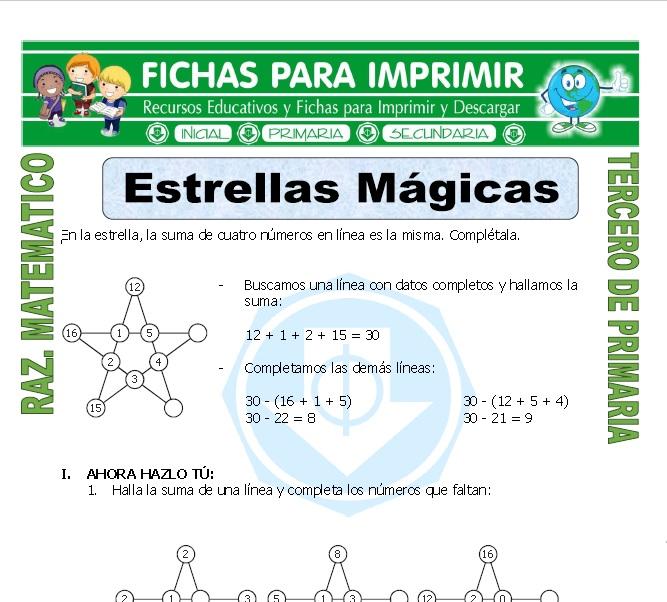 Estrella Magica Para Tercero De Primaria Fichas Para Imprimir
