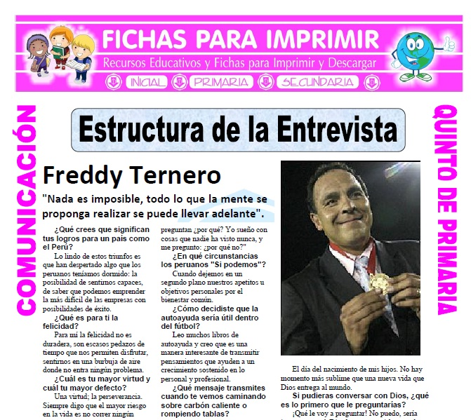 Ficha de Estructura de la Entrevista para Quinto de Primaria