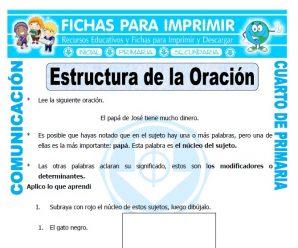 Estructura de la Oracionpara Cuarto de Primaria