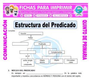 Ficha de Estructura del Predicado para Quinto de Primaria