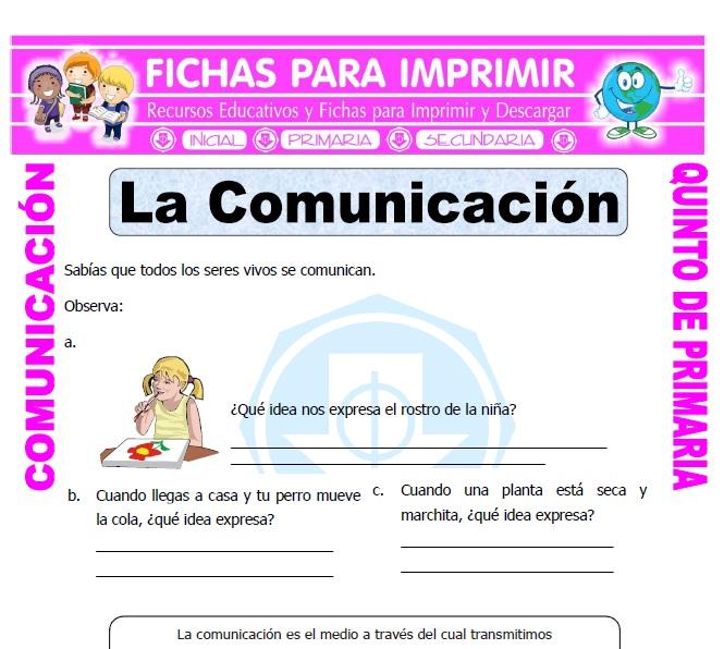 ficha de Formas de Comunicacion para Quinto de Primaria