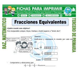 Ficha de Fracciones Equivalentes para Tercero de Primaria