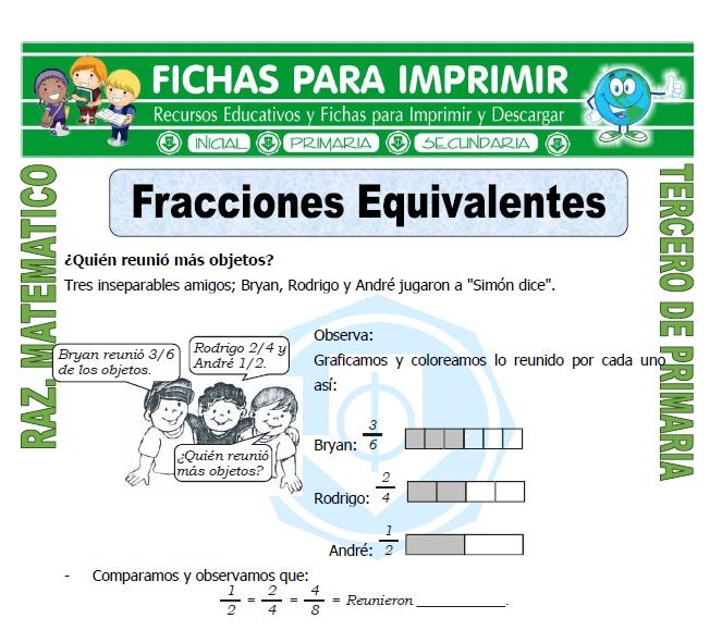 Fracciones Equivalentes para Tercero de Primaria - Fichas para Imprimir