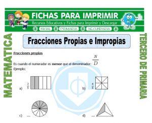 ficha de Fracciones Propias e Impropias para Tercero de Primaria