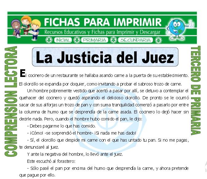 ficha de La Justicia del Juez para Tercero de Primaria