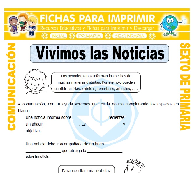 Ficha de La Noticia para Sexto de Primaria
